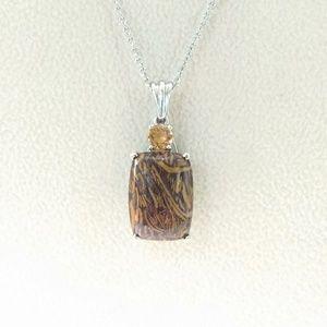 Jewelry - Script Stone and Citrine Pendant w/Chain